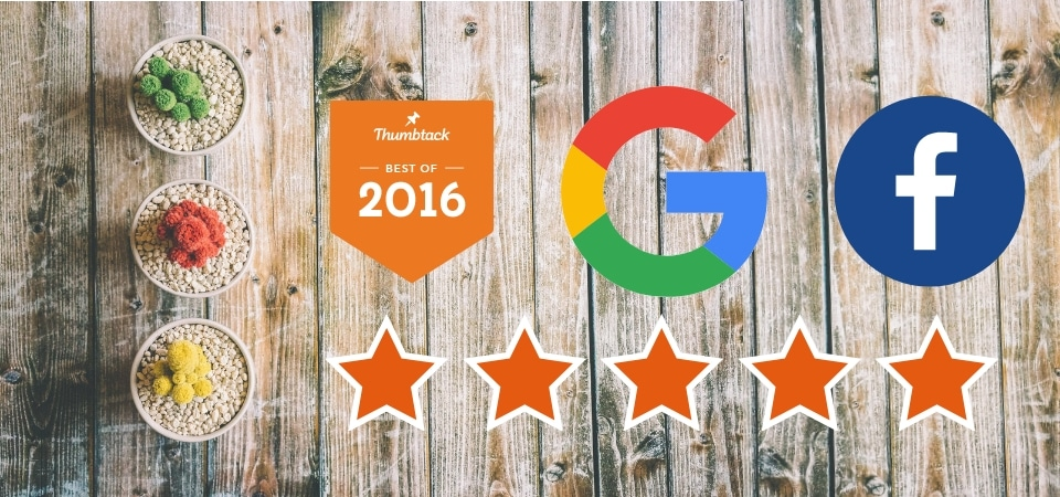 Image featuring the logos of Thumbtack, Google and Facebook alongside 5 stars. Pro Mow is rated 5 stars on all 3 platforms.