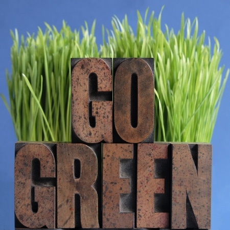 """A sign reading, """"Go Green"""" placed in front of grass."""